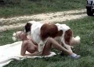 Stacked slut enjoying outdoors animal fucking
